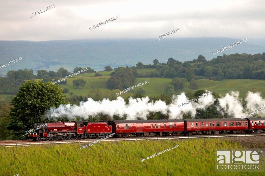 Stock Photo: Settle to Carlisle Railway. Steam locomotive LMS Jubilee Class 45699 Galatea. Lazonby, Eden Valley, Cumbria, England, UK.
