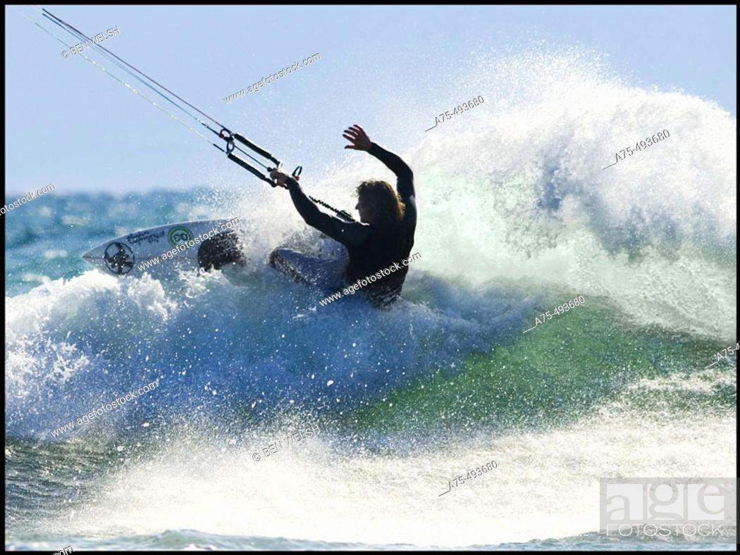 Stock Photo: Kiteboarding.