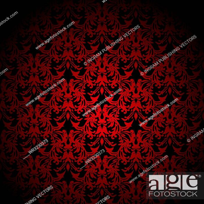 Vector: Red and black floral inspired background that seamlessly tiles.