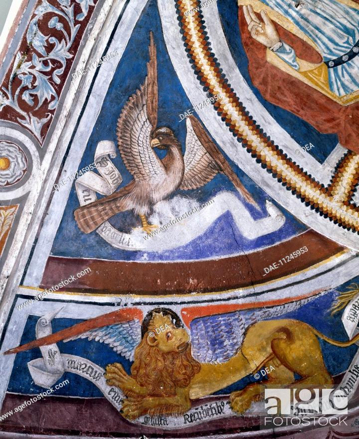 The Symbols Of The Evangelists Mark And John 15th Century Fresco
