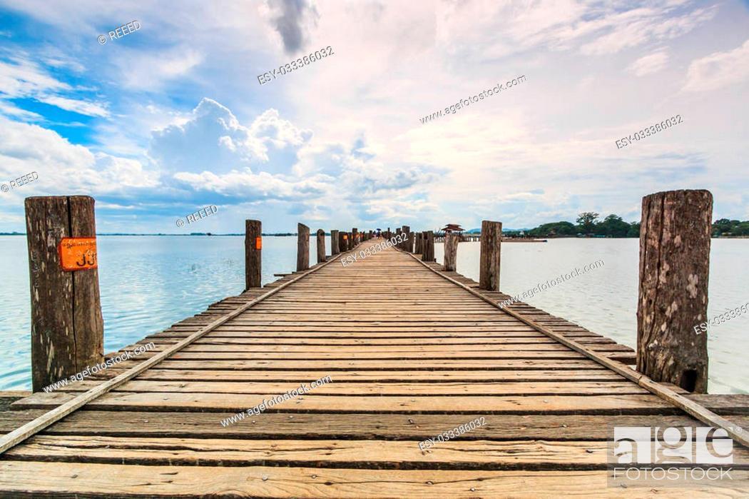 Stock Photo: U bein bridge, Taungthaman lake, Amarapura, Burma. It is the old.