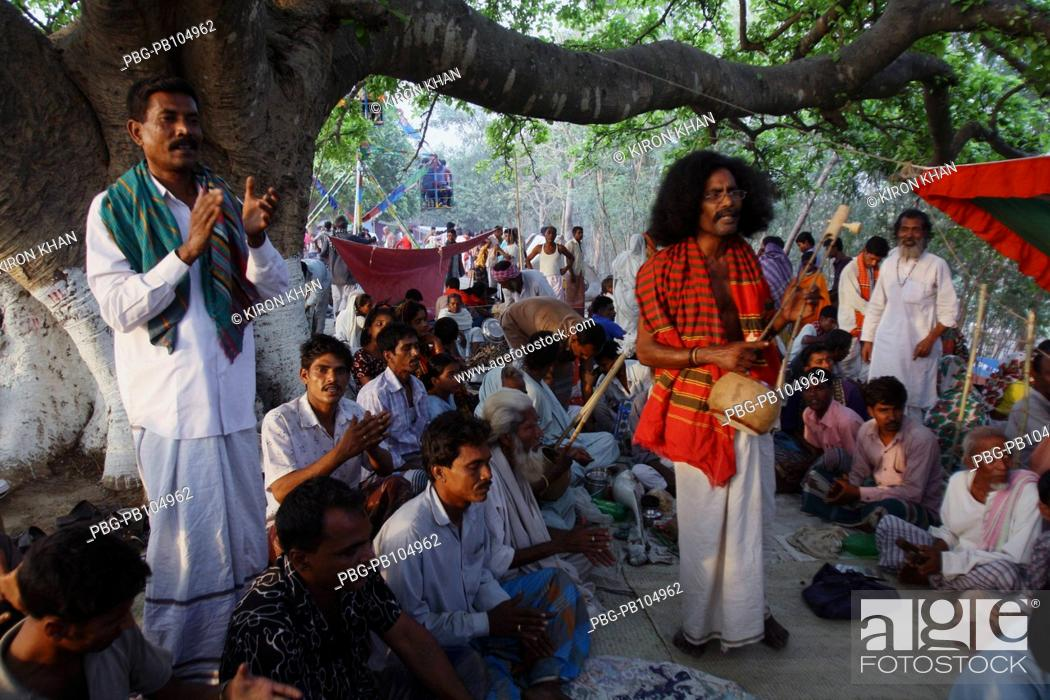 Stock Photo: Many bauls Folk minstrel singers come to the fair and sing spiritual songs at Sulaiman Shah Fair that is held every year at Bheramara Kushtia.