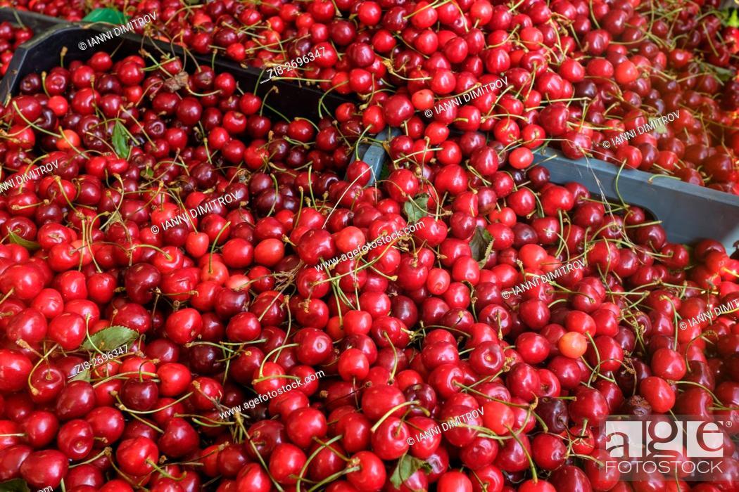 Stock Photo: Fresh cherries on farmers market.