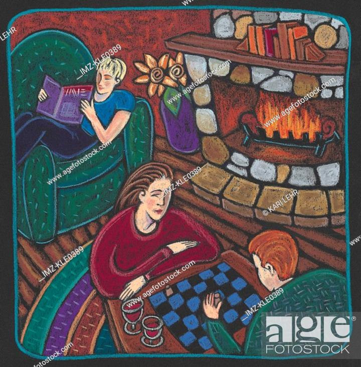 Stock Photo: A family playing chess and reading next to a fire in a log cabin.