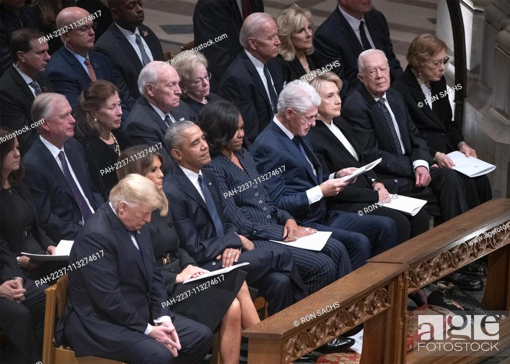 Stock Photo: National funeral service in honor of the late former United States President George H.W. Bush at the Washington National Cathedral in Washington.