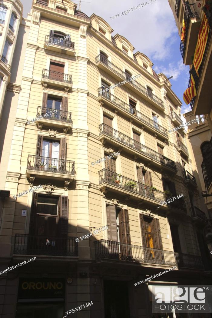 Stock Photo: Residential building in Gothic Quarter Barcelona.