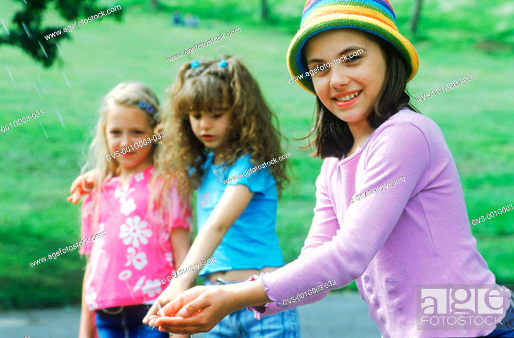 Stock Photo: Young girls smiling.