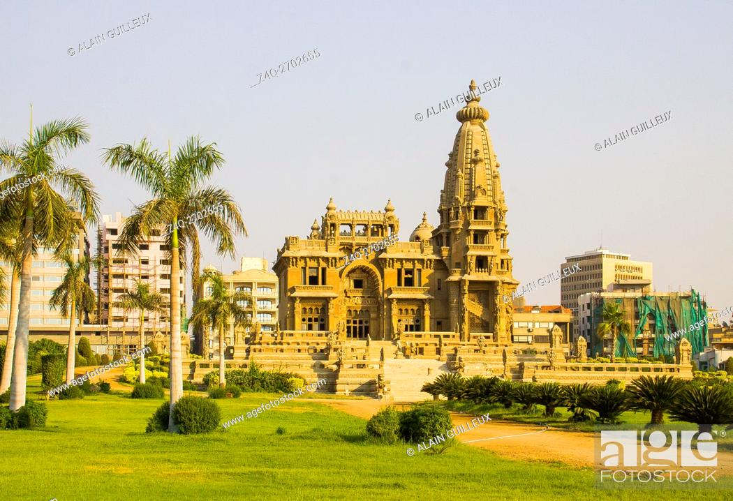 Stock Photo: Egypt, Cairo, the Modern Heliopolis town was built by the Baron Empain at the beginning of the 20th century. The palace of the Baron Empain, Khmer style.