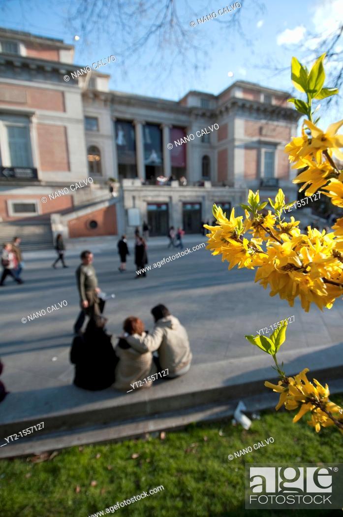 Stock Photo: People enjoying a sunny spring day outside the Museum del Prado Museo del Prado, Madrid.
