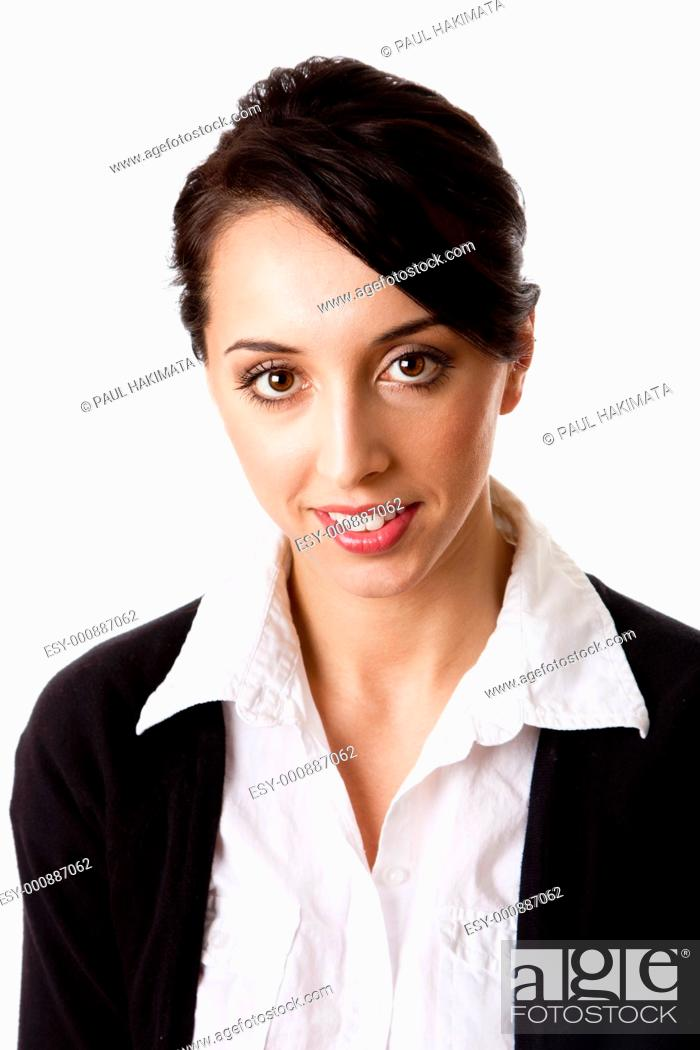 Stock Photo: Beautiful Caucasian Hispanic happy smiling cute corporate business woman  Face and shoulders of an entrepreneur female, isolated.