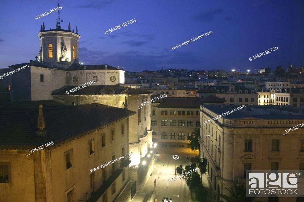 Stock Photo: Santander skyline and Cathedral Spain at night.