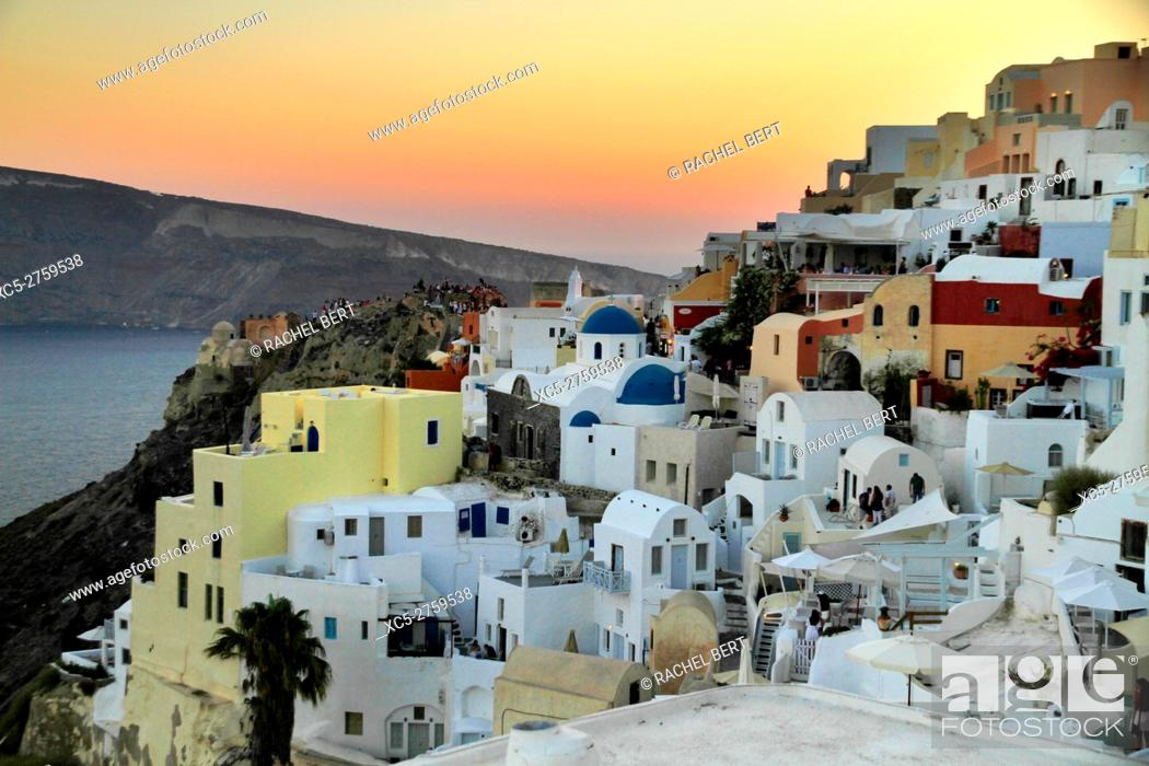 Stock Photo: View of the Santorini caldera at dusk, taken from Oia, Santorini/Thera, Greece.