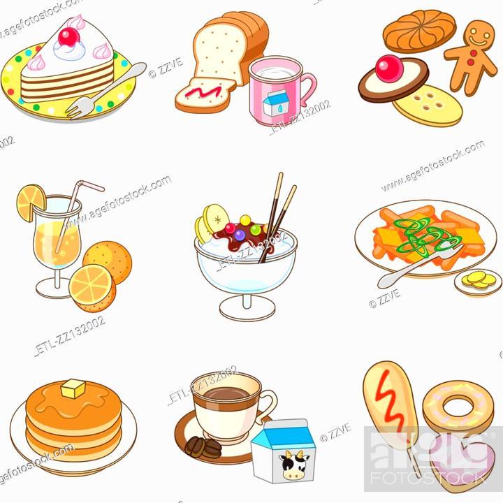 Stock Photo: various dessert.