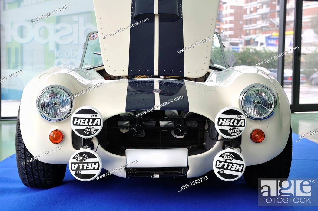 Stock Photo: Front sports car classic AC Cobra, Carroll Shelby.