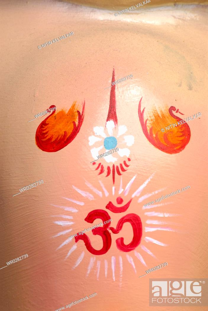 Om Symbol Painted On Forehead Of Idol Of Lord Ganesh Elephant Headed