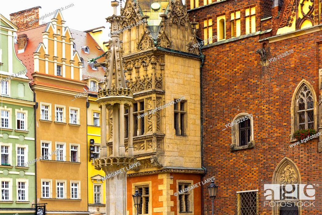 Stock Photo: Old town, Main Square, details of City hall, Wroclaw, Poland, Europe.