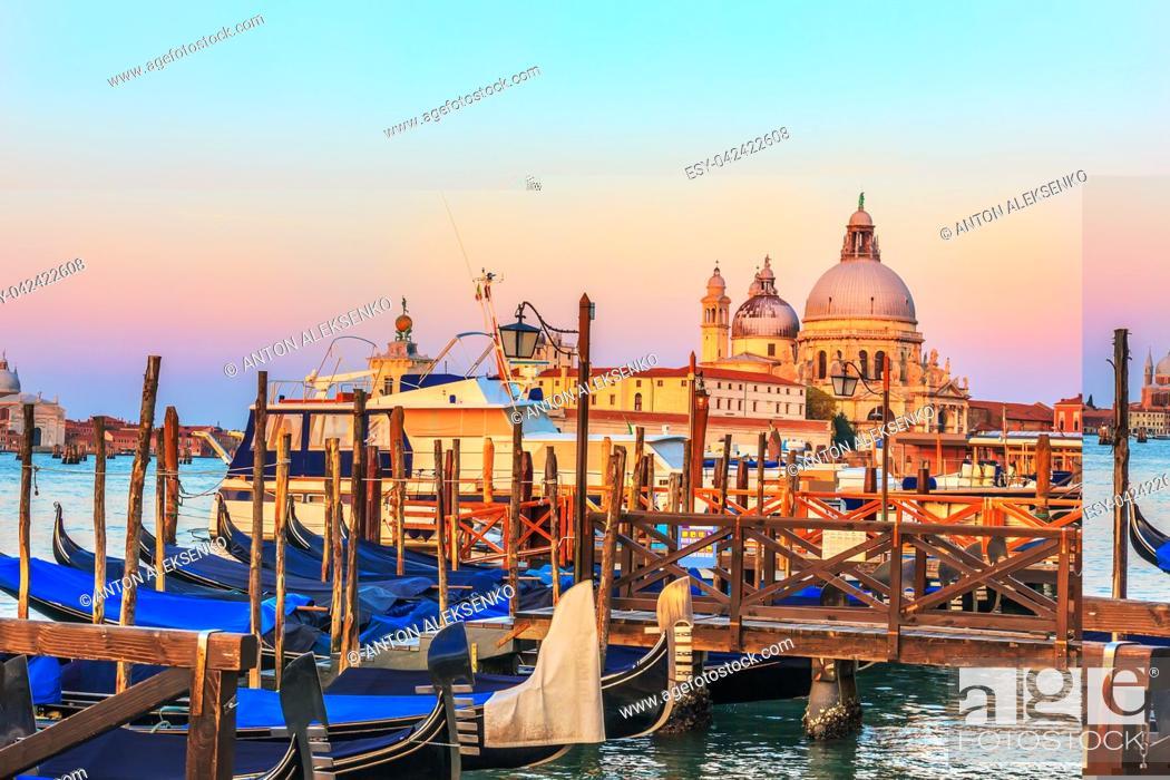 Stock Photo: Gondolas in front of Santa Maria della Salute Church in Venice.