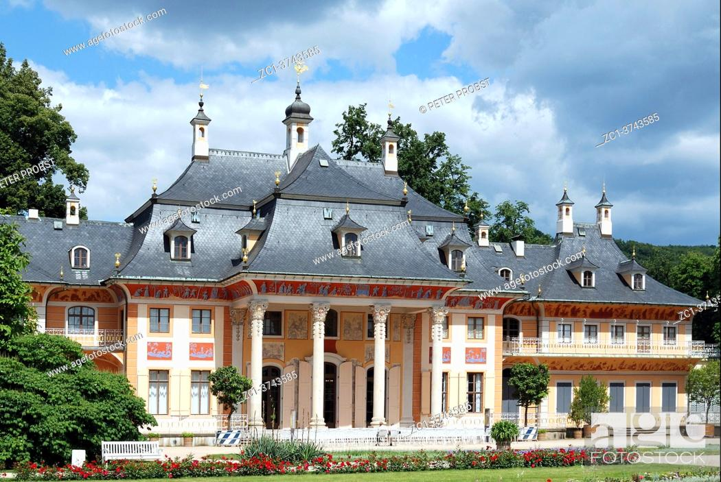 Stock Photo: Pillnitz castle in Dresden with the mountain palais and the great castle park - Germany.