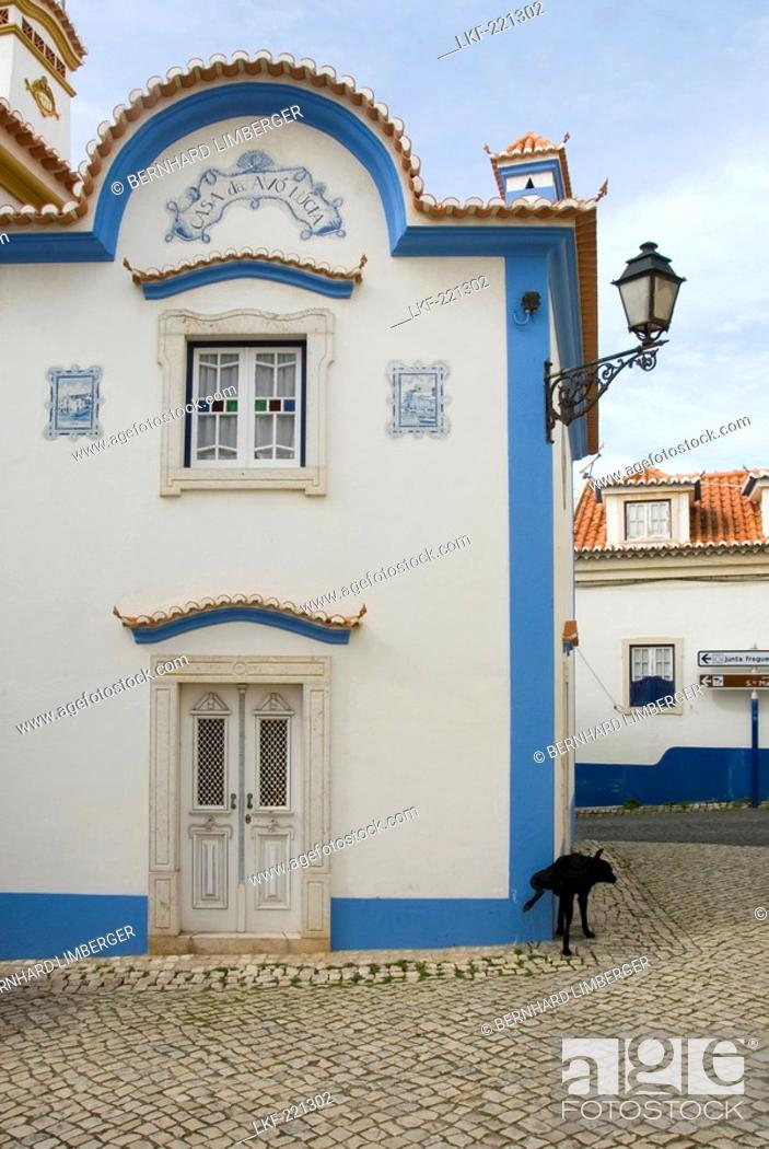 Stock Photo: Blue and white painted house, Historical, old fishing village of Ericeira, Portugal.