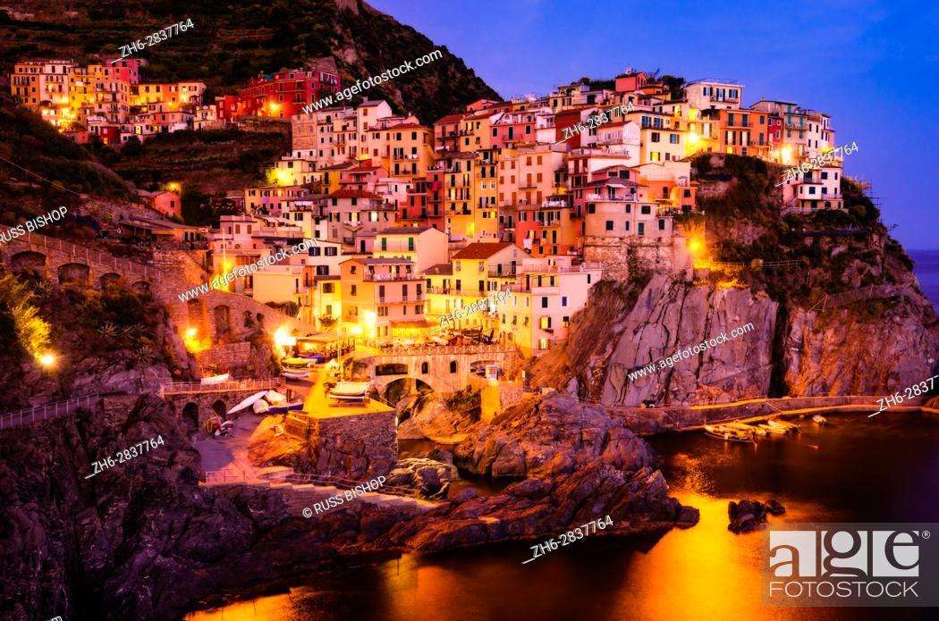 Stock Photo: Evening light in Manarola, Cinque Terre, Liguria, Italy.