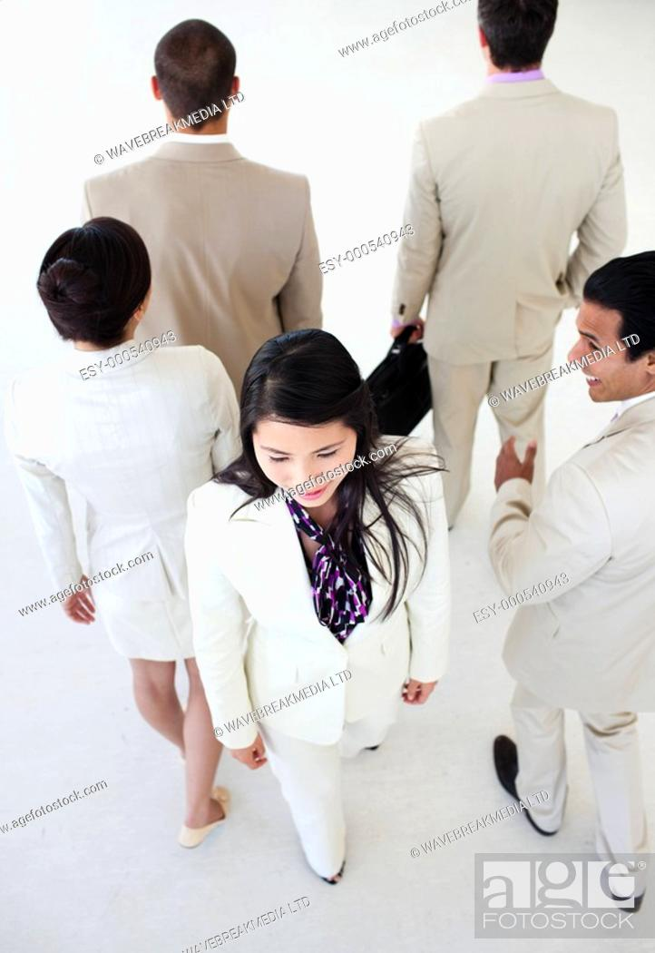 Stock Photo: Asian businesswoman in a business building Business concept.