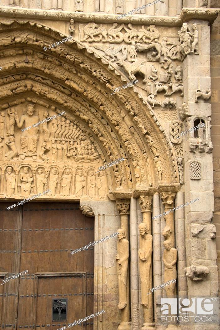 Stock Photo: Sangüesa or Zangoza, Santa Maria la Real church (romanesque and gothic 12-14th centuries). Portal, archivolts, tympanum and jambs. Navarra, Spain.
