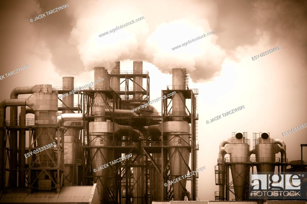 Stock Photo: dirty smoke and pollution produced by factory.