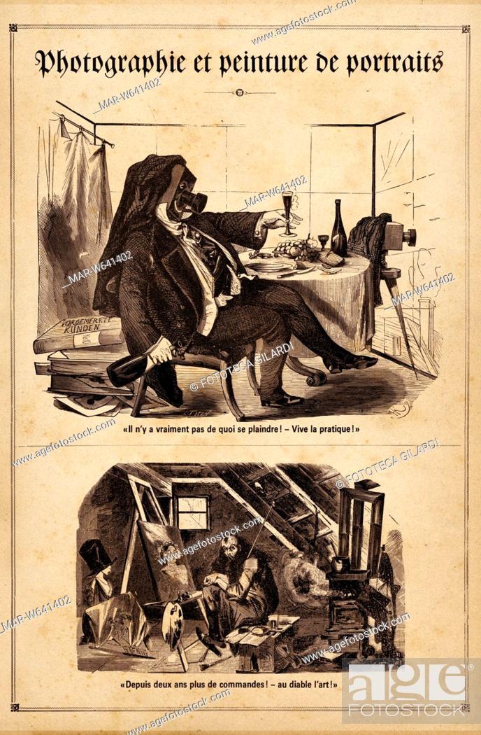 Stock Photo: FOTOGRAFIA Storia. Caricature riferite ai cambiamenti di costume conseguenti alla diffusione di questo nuovo modo di produrre immagini: nella parte superiore la.