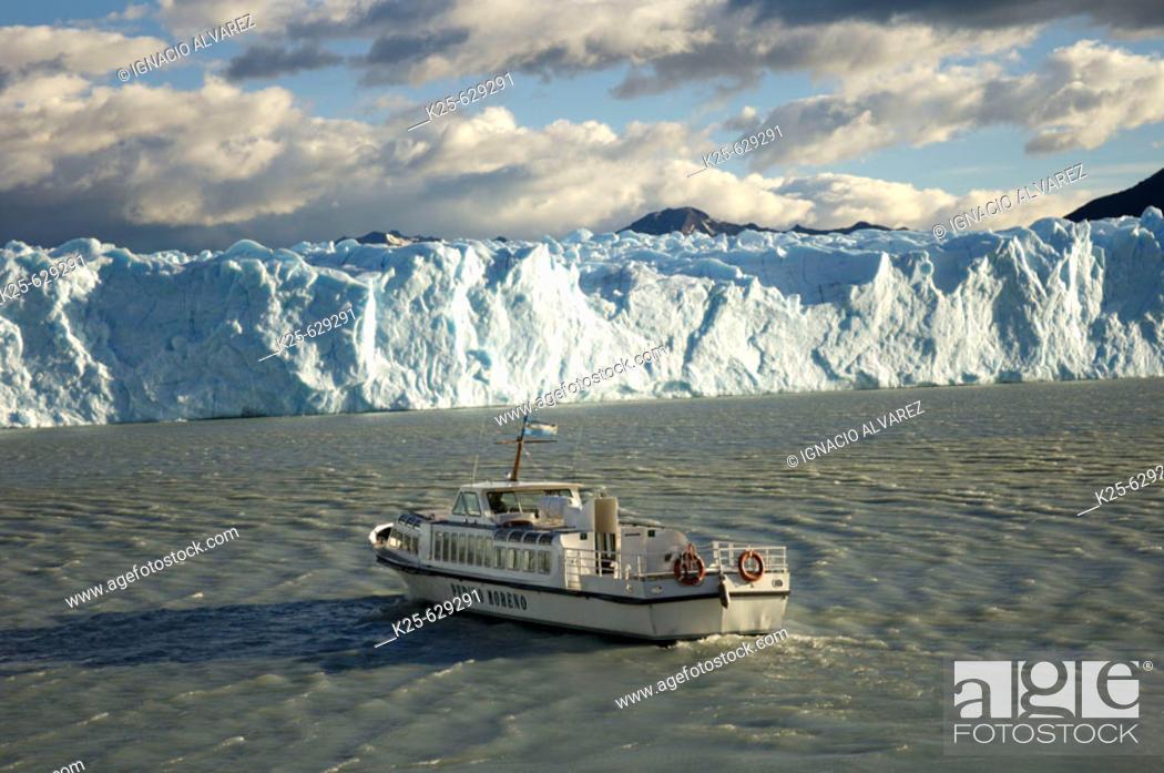 Stock Photo: Boat. Perito Moreno glacier. Los Glaciares National Park. Santa Cruz province. Patagonia. Argentina.