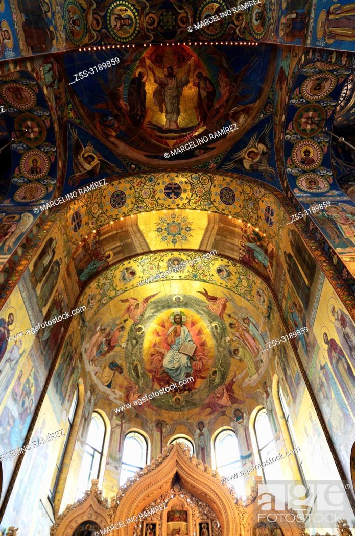 Stock Photo: Interior, Church of the Savior on Spilled Blood. Saint Petersburg, Northwestern, Russia.