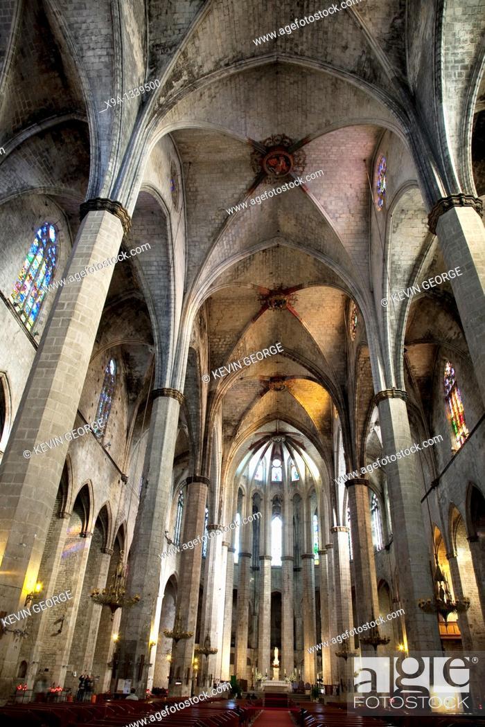 Stock Photo: Nave of the Santa Maria del Mar Church in Barcelona, Catalonia, Spain.