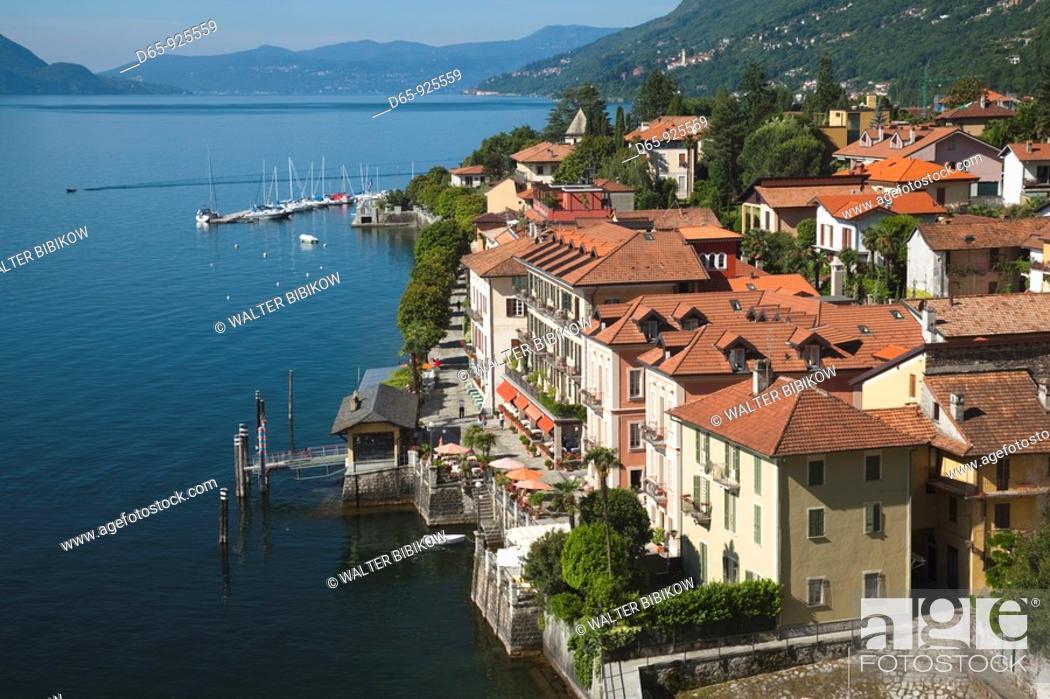 Stock Photo: Italy, Piedmont, Lake Maggiore, Cannero Riviera, high angle town view.