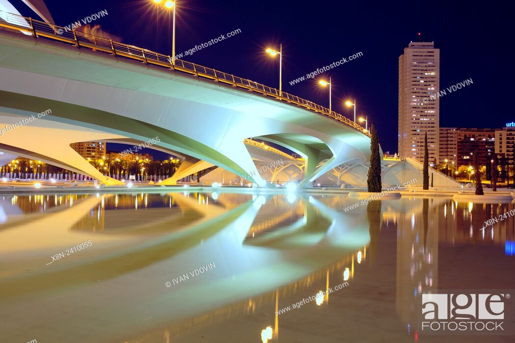Stock Photo: City of Arts and Sciences (Ciudad de las Artes y las Ciencias) at night, Valencia, Valencian Community, Spain.