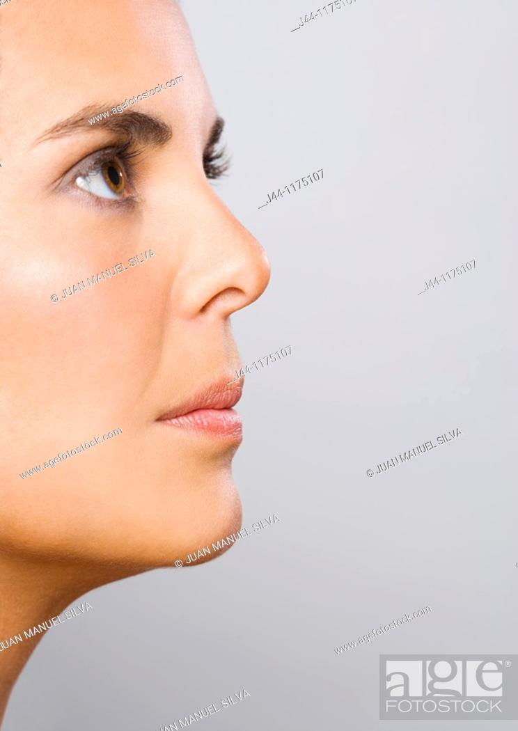 Stock Photo: Woman profile, close up.