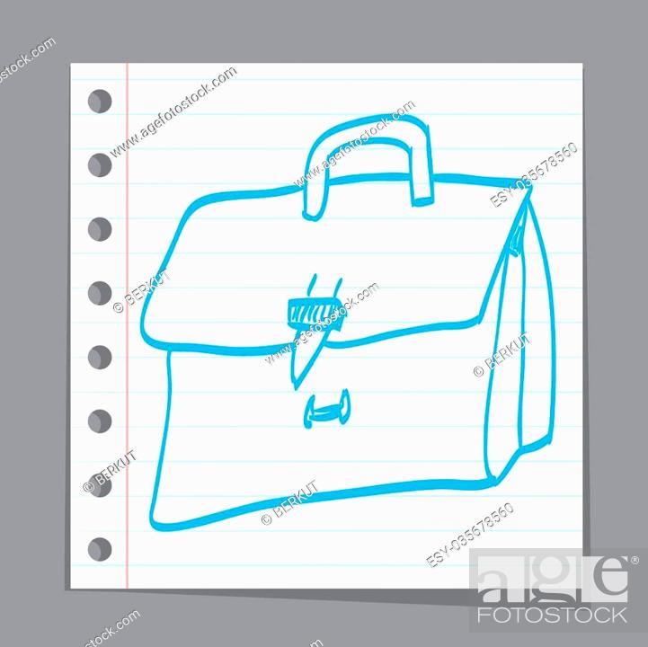 Stock Vector: sketch illustration - leather briefcase.