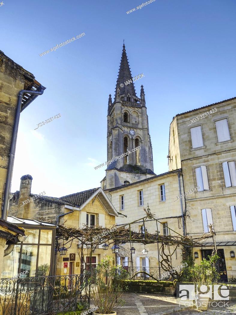 Stock Photo: Monolithic Church and Place du Marche au Bois, Saint Emilion, Gironde Department, New Aquitaine, France.