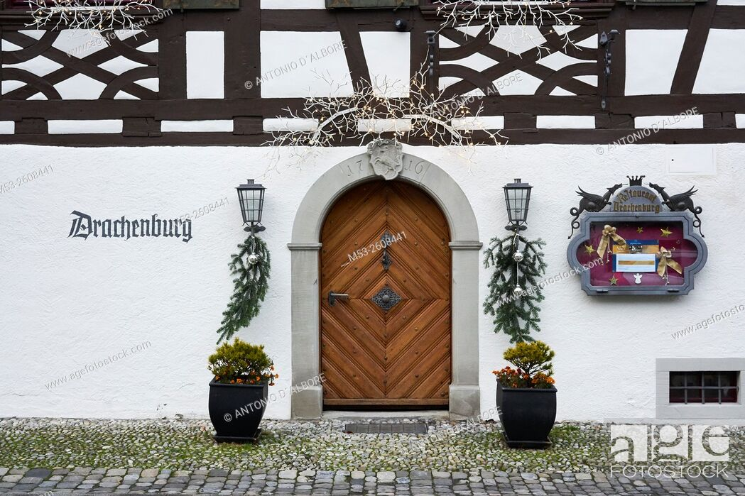 Stock Photo: Exterior of a medieval age restaurant with Christmas decoration. Gottlieben Municipality. Kreuzlingen District. Thurgau Canton. Switzerland.