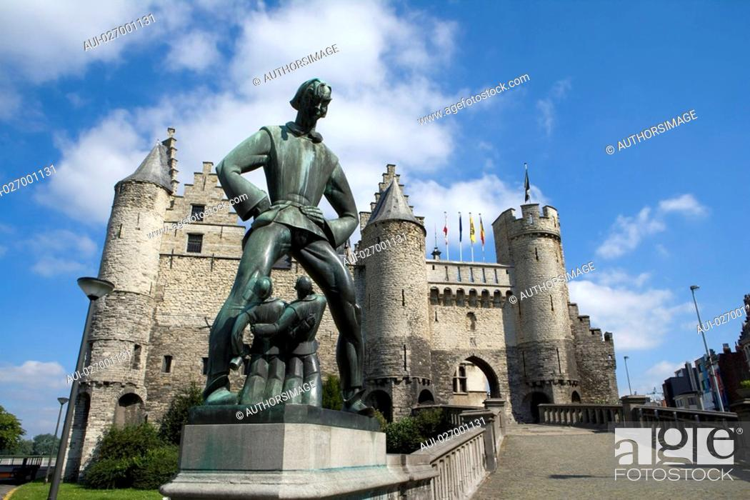 Stock Photo: Belgium - Flanders - Antwerp - The Steen - Fortified castle - National Museum of Navigation - The giant Lange Wapper.