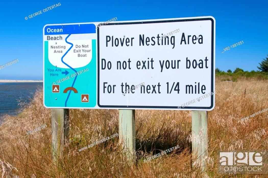 Stock Photo: Snowy plover sign at Siltcoos River estuary, Oregon Dunes National Recreation Area, Oregon.