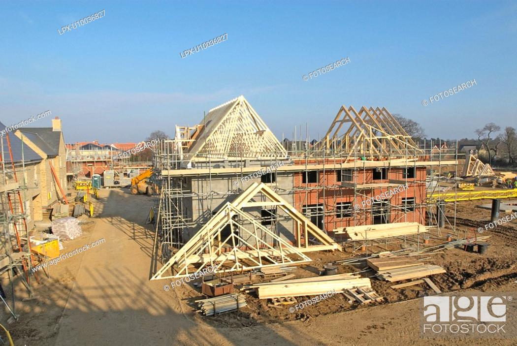 Stock Photo: Residential housing development under construction.