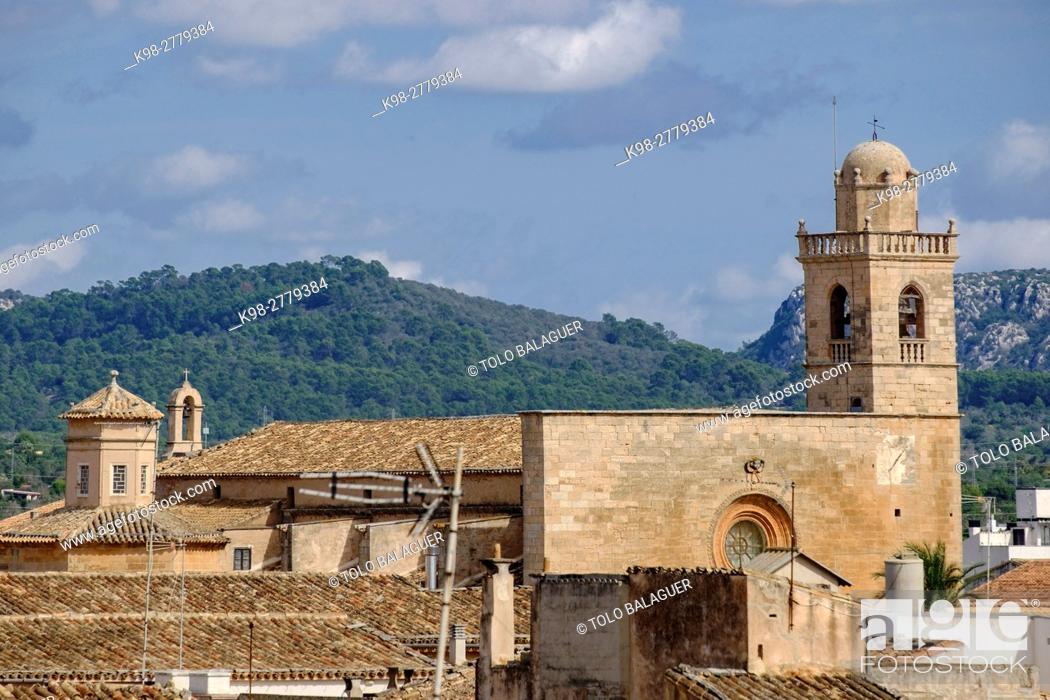 Stock Photo: Church of Convent de Sant Bonaventura. devoted to Bonaventura de Bagnoregio. Llucmajor, Mallorca , Balearic Islands, Spain ,.