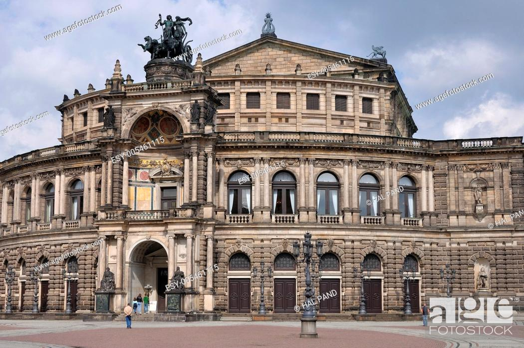 Stock Photo: the historical building of the operahouse in dresden, a baroque monument completey rebuilt after the second world war's damages.