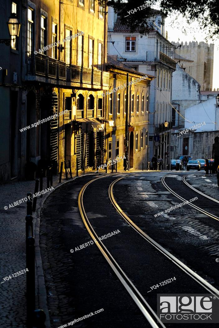 Stock Photo: Sunset in Alfama, Lisbon, Portugal.