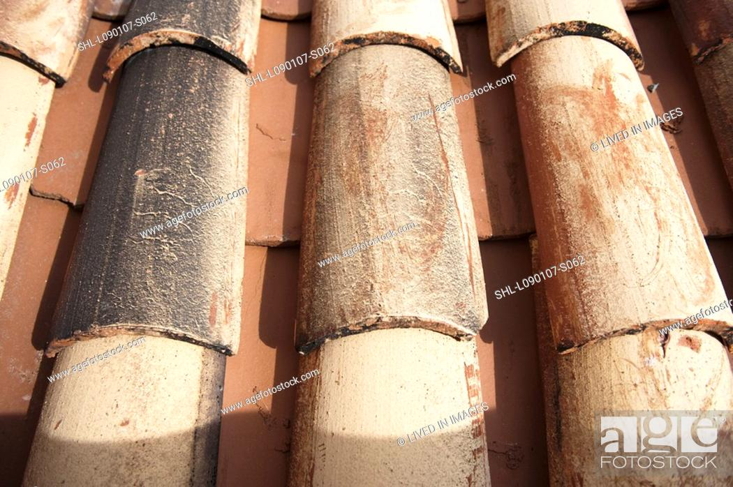 Stock Photo: Detail red tile roof.