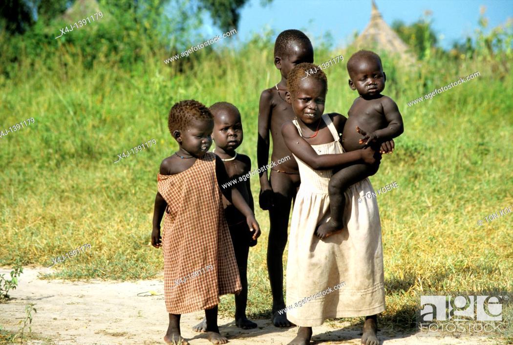 Stock Photo: sudanese refugee children.