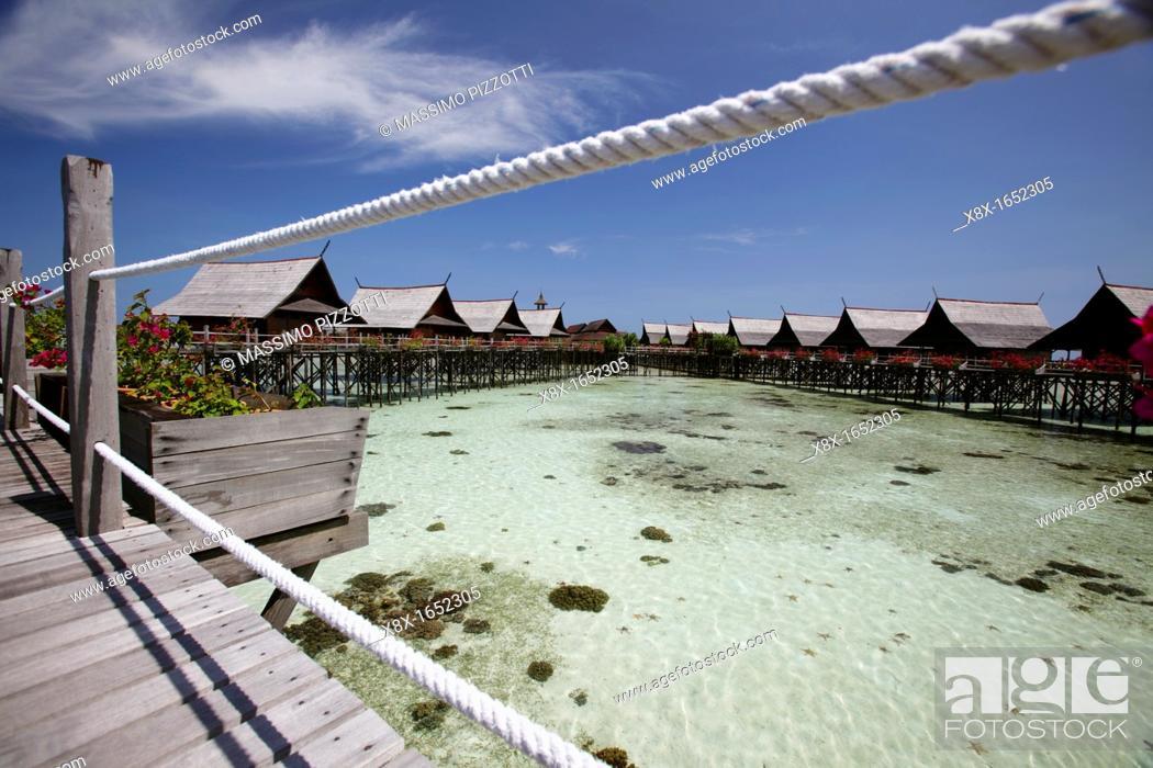 Imagen: Kapalai resort at Kapalai Island, Borneo, Malaysia.
