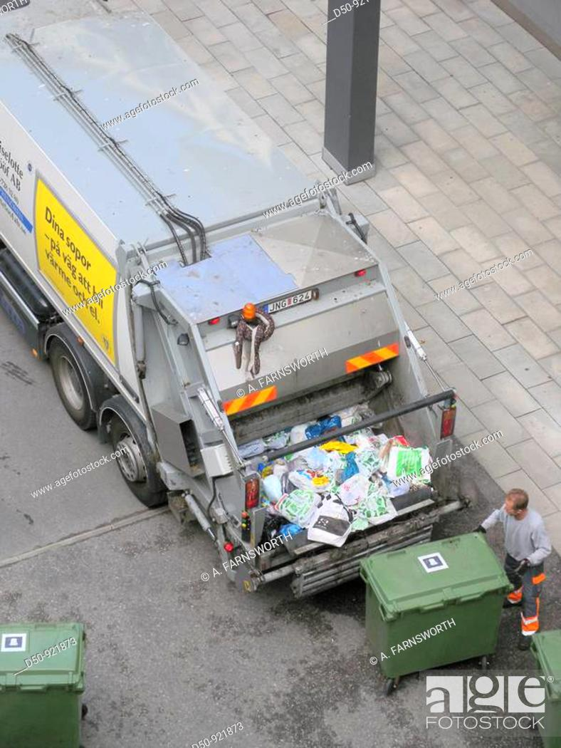 Stock Photo: Garbage collection and truck. Stockholm, Sweden.