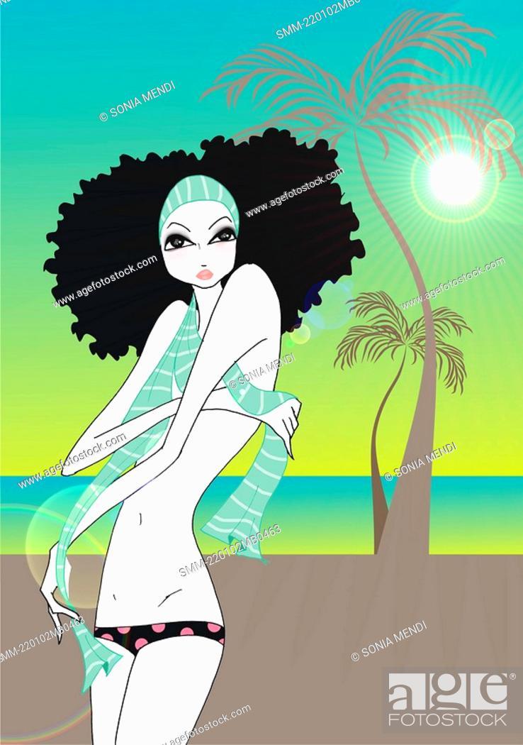 Stock Photo: Young woman in topless bikini on a tropical beach.