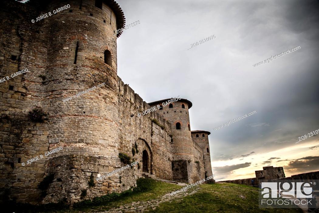 Stock Photo: Walls of castle Carcassone.