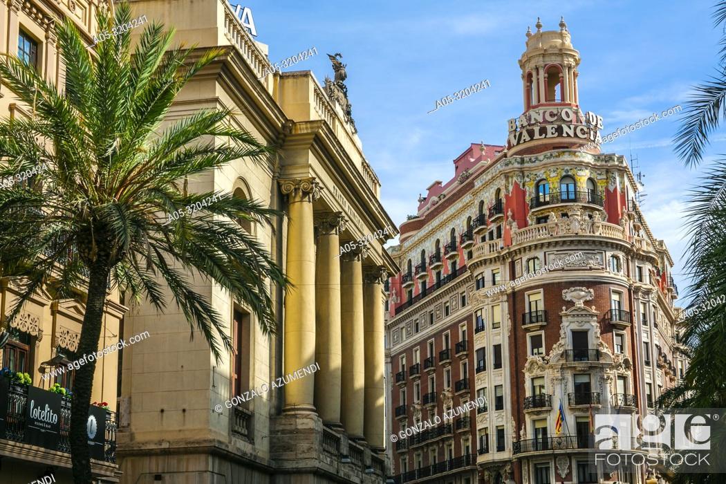 Imagen: Teatro Principal Theatre and Bank of Valencia Building. Valencia. Comunidad Valenciana. Spain.